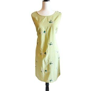 Vintage lime green daisy embroidered shift dress